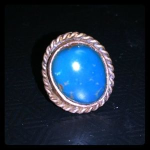 Vintage Native American Ster Silver Turquoise Ring